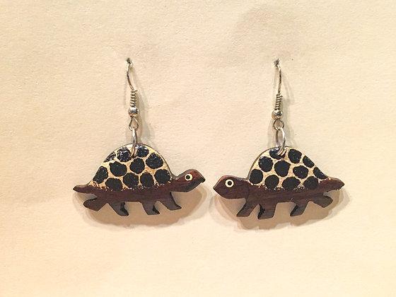 Leopard print  Walking Turtle Wooden Earring
