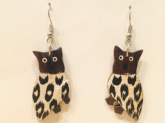 Brown and white Owl Wooden Earring
