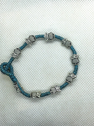 Owl bracelet blue