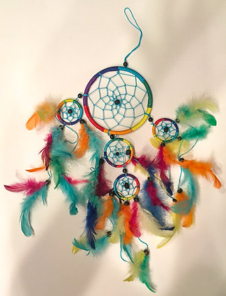Blue middle rainbow silk dreamcatcher