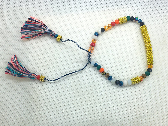 Multicolored and gold tassel bracelet