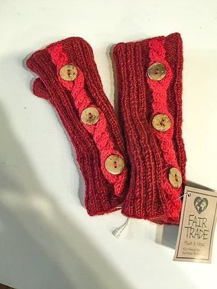 Red 3 Botton Fingerless Gloves