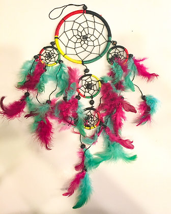 Silk red, green, black, yellow dreamcatcher