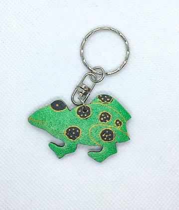 Wooden frog keychain