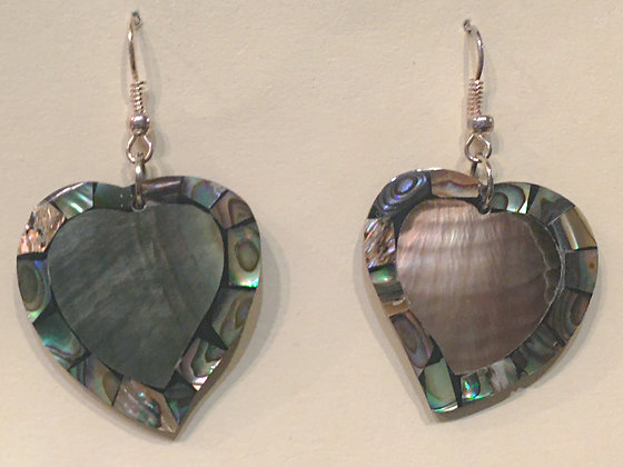 Grey Heart Shell Earring