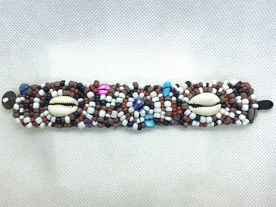 Brown Shell beaded Braclete