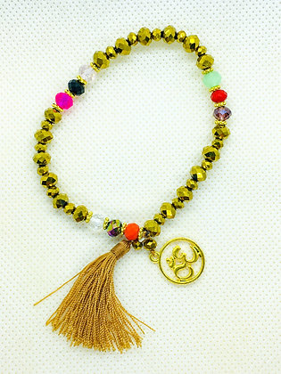Tassel Bracelet With Charm Gold