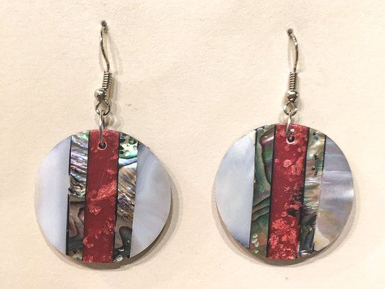 Red and white and grey shell earring