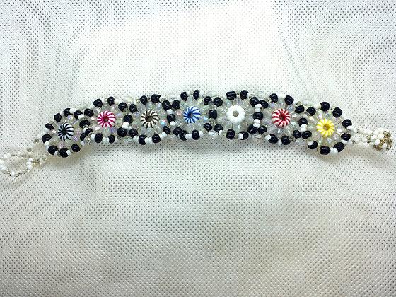 Beaded flower bracelet  black and white