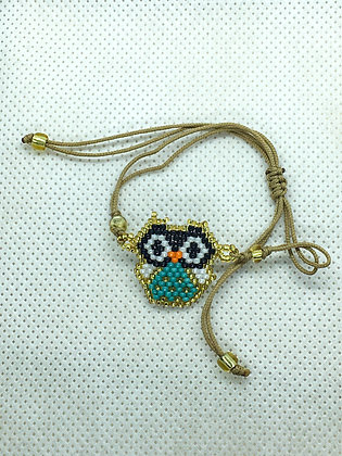 Blue Owl Beaded String Bracelet