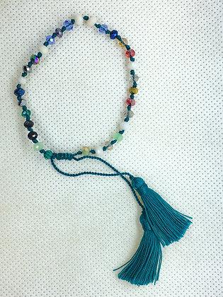 Adjustable tassel bracelet Teal