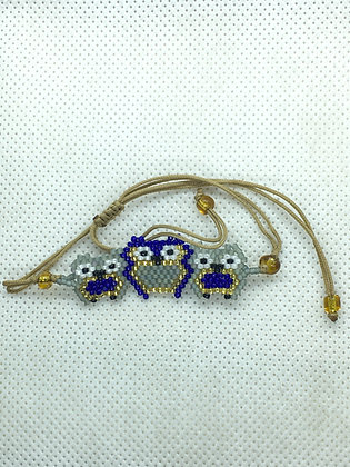 Blue Triple Owl Beaded bracelet