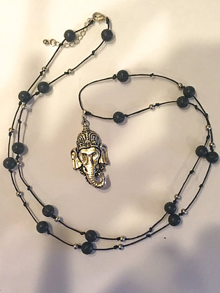 Lava stone Ganesh necklace