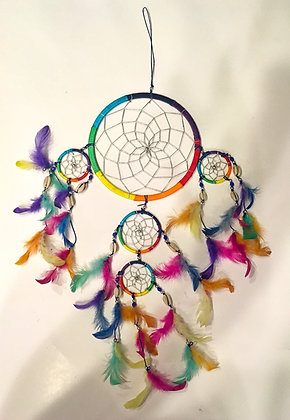 Rainbow silk with shell dreamcatcher