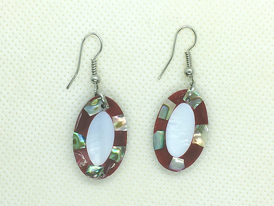Red Oval shell earrings