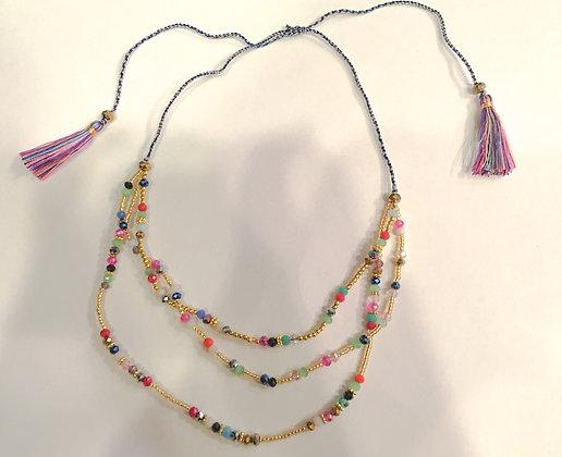 Multi strand multi colored tassel necklace