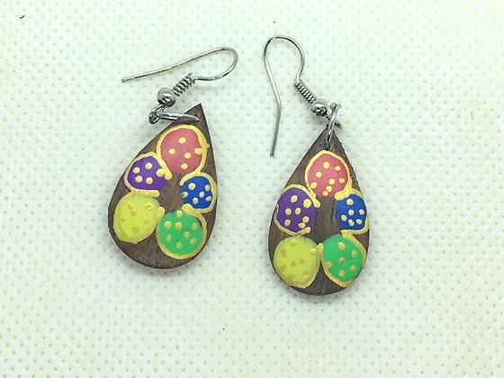 Flower Tear Drop Wood Earrings