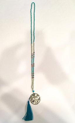 Bird tassel necklace teal