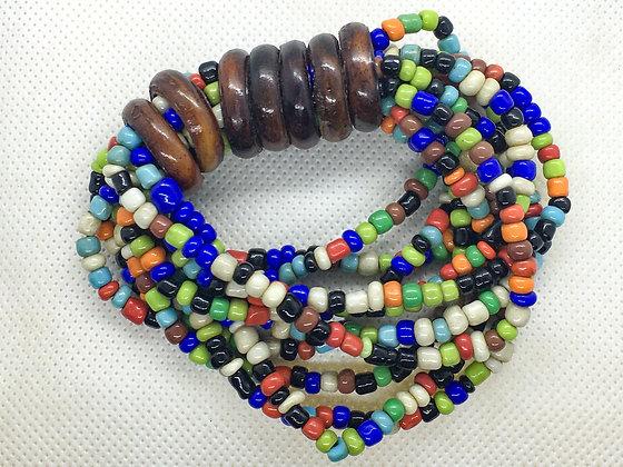 Rainbow Wood ring beaded bracelet