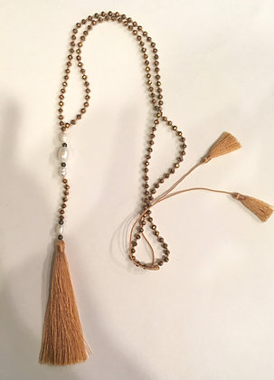 Freshwater pearl gold tassel necklace