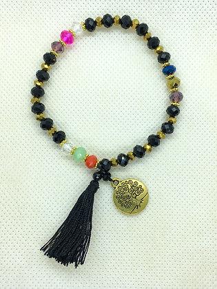 Tassel Bracelet With Charm Black