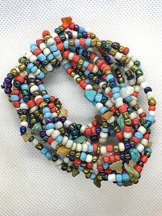 Multicolored rock chip bead bracelet