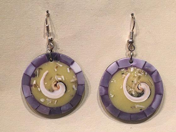 Purple shell earring