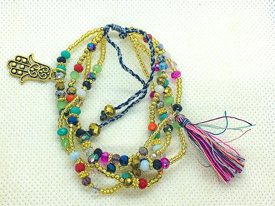 Beaded 4-Strand Bracelet Multicolored