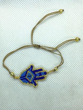 Blue Hamsa Beaded String Bracelet