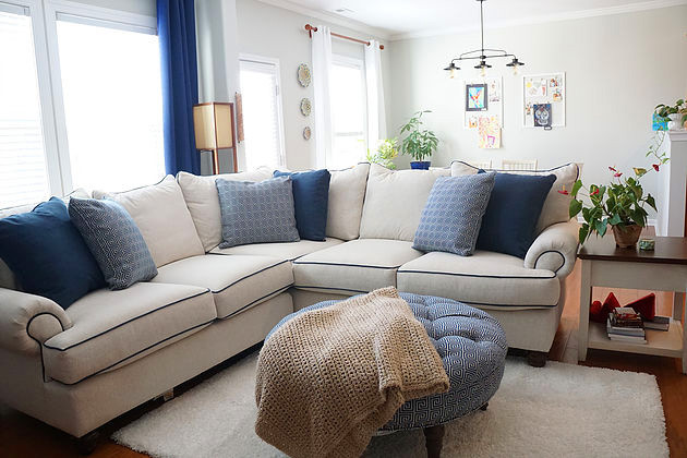 Indigo blue and neutral living room