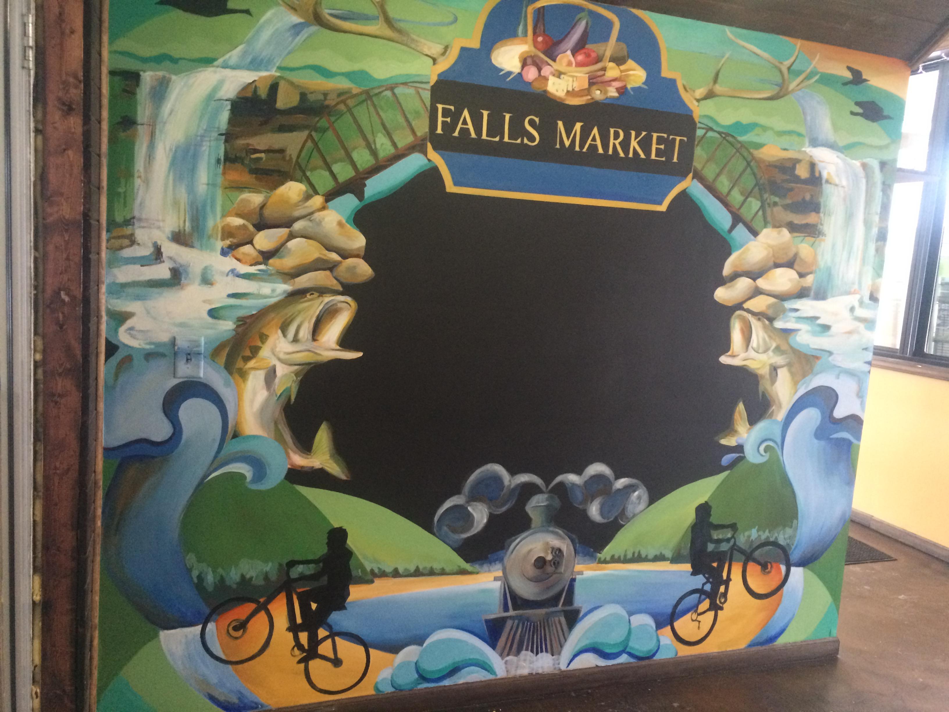 Falls market chalk board mural. Ohiopyle