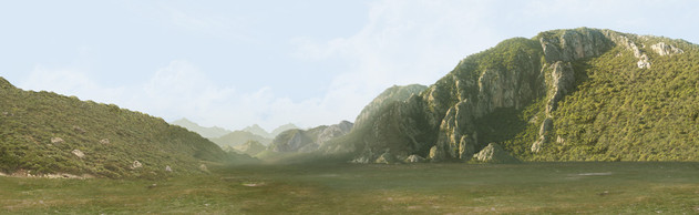 Green valley matte painting