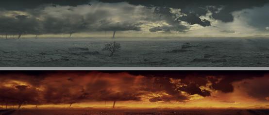 Apocalyptic Arid land matte painting verd