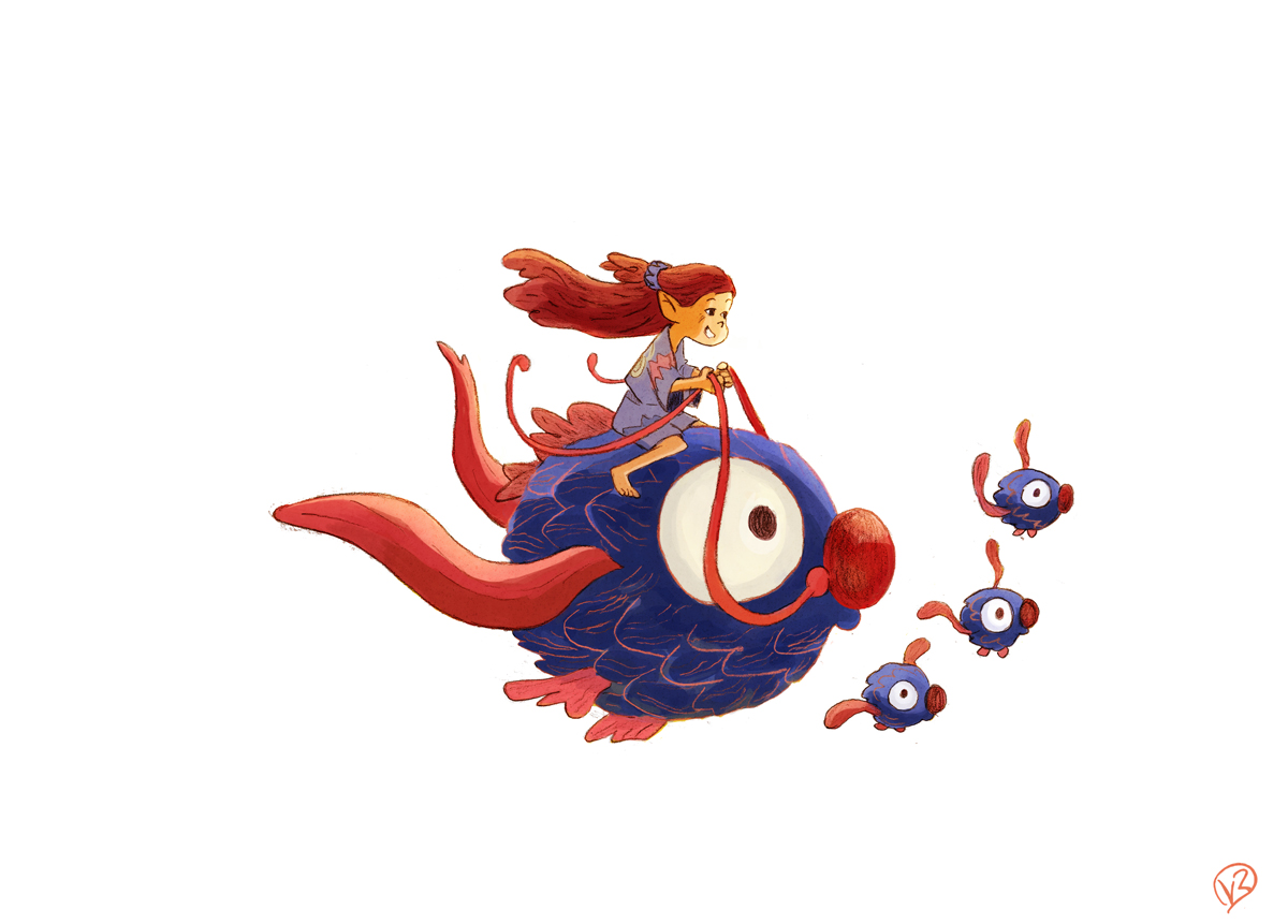 girl flying blue fish