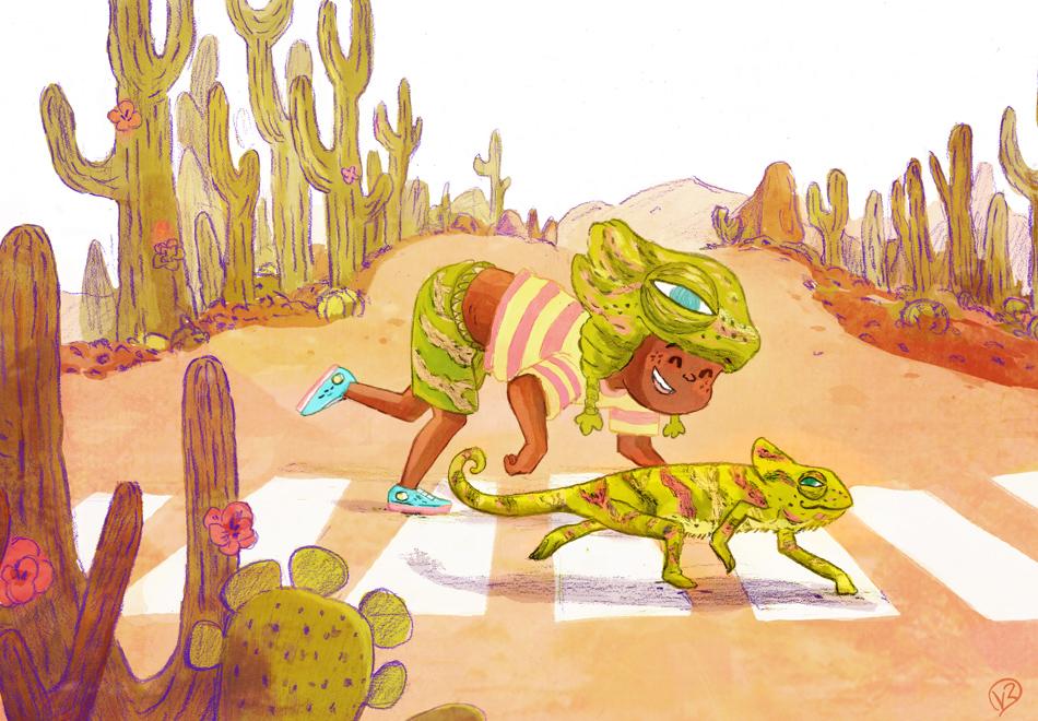 Chameleon Kinderbuch Illustration