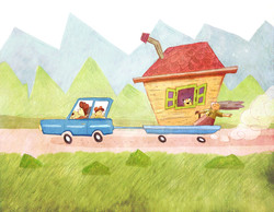 oma fährt auf urlaub illustration