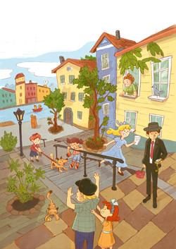 sunday street illustration