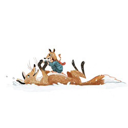 fox and little kid fight in the snow