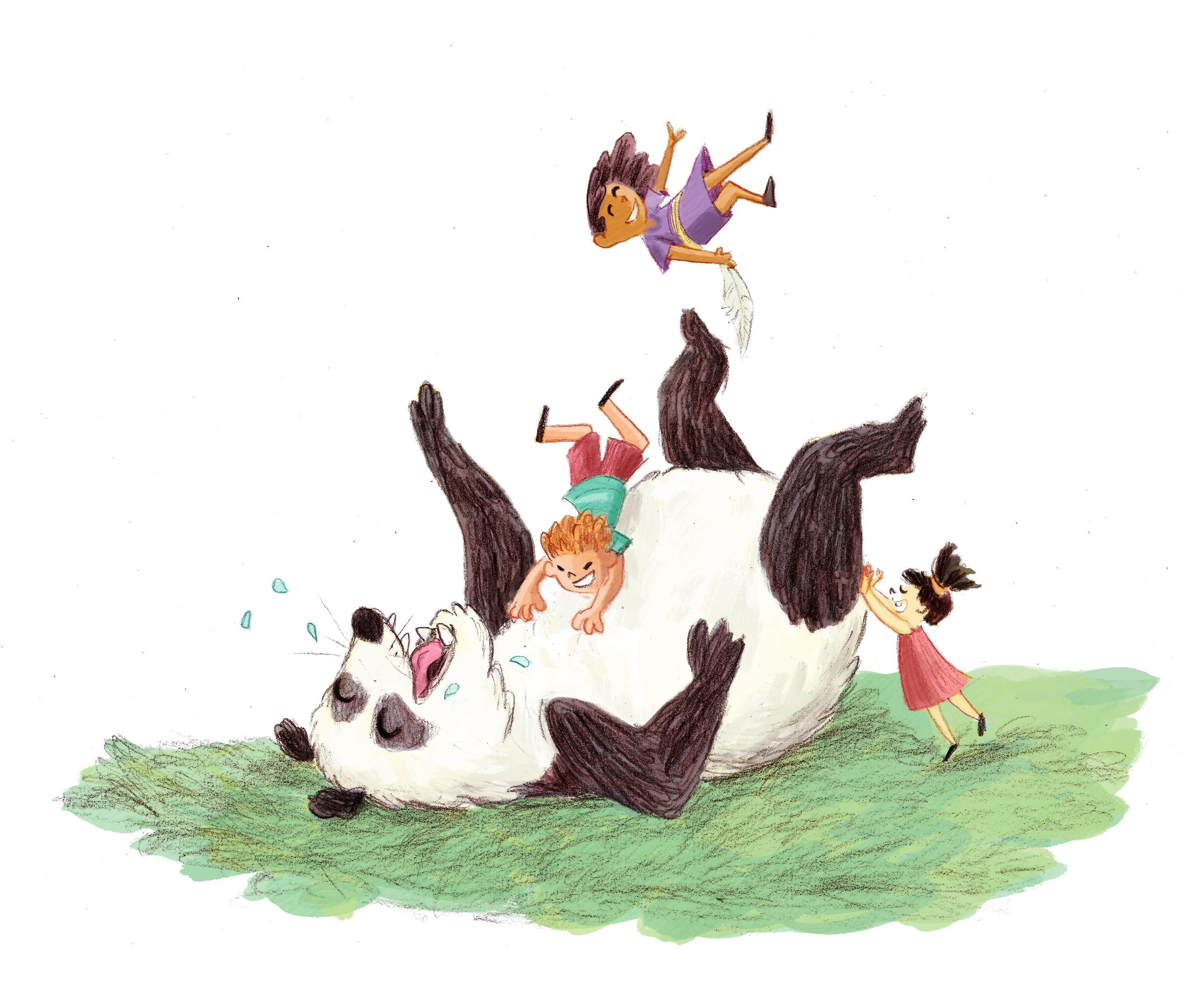 kids tickle their panda friend
