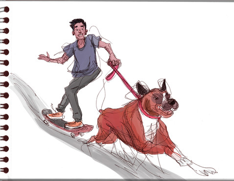 dog pulling skating