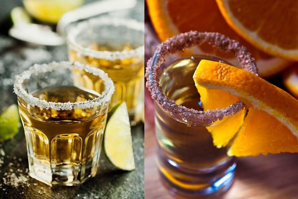 Vaso de tequila ante un vaso de mezcal
