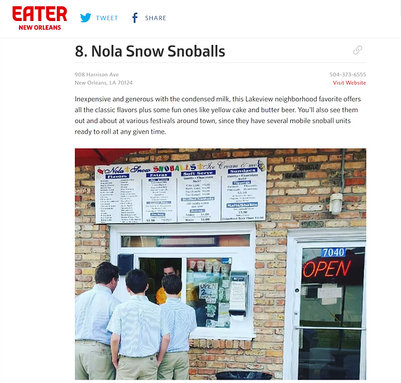 Nola Snow Snoball Eater Article