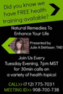 Julie DeVisser, Natural Remedies, Health Training