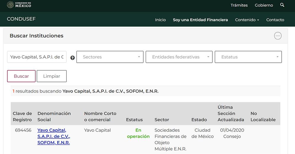 Registro de YAVO Capital ante la CONDUSEF