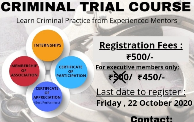 Criminal Course by Association of Indian Students , for budding next-gen lawyers.