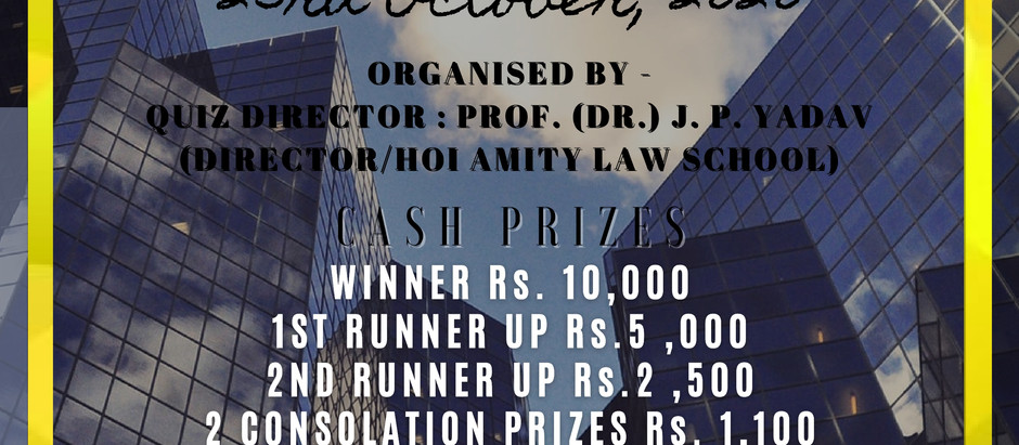 Amity University presents online quiz on CONSTITUENCY LAW (AQCL) on 23rd October.
