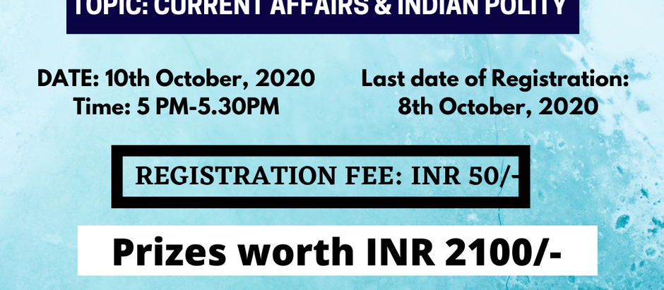 LawHabitat presents 2nd National Online Quiz Competition on CURRENT AFFAIRS & INDIAN POLITY.