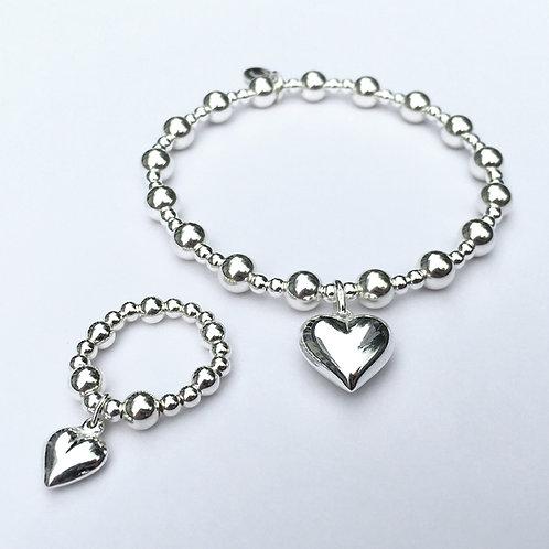 Amara Puffed Heart Bracelet and Ring Set