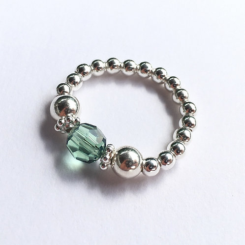 Green Devani Ring (Silver)
