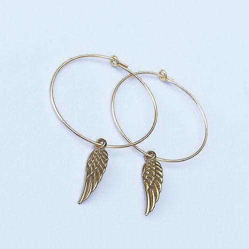 Seraphina Wing Hoop Earrings (Gold)